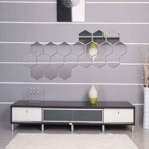 BS 12PCS Mirror Hexagon Removable Acrylic Wall Sticker Art DIY Beauty Decor Sple