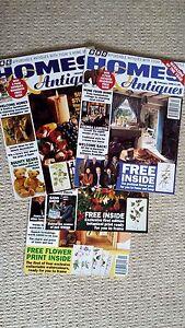 4-Homes-amp-Antiques-Magazines-1995-96-Set-of-Free-Botanical-Prints-to-Frame