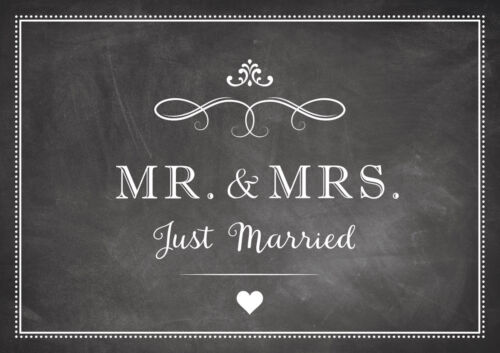 """and Mrs Just Married /""""Thanks Card for Wedding in/"""" Chalk-Blackboard-look/"""" /""""Mr"""