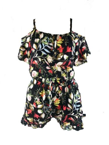 LADIES TWO PIECE SHORTS /& TOP CO ORD SET OFF SHOULDER TOP TROPICAL FLORAL PRINT