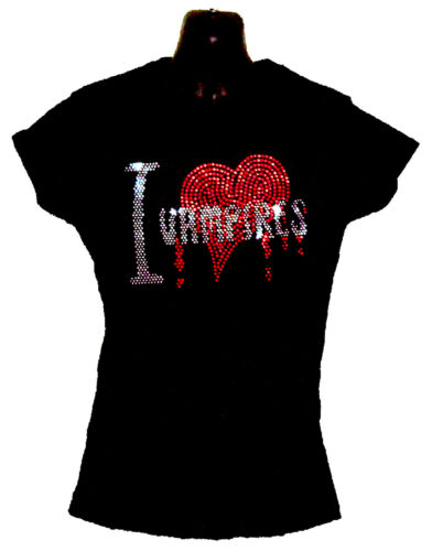 I LOVE VAMPIRES CRYSTAL LADIES FITTED T SHIRTS.GOTHIC HORROR all sizes