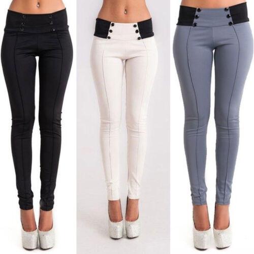 UK Womens Low Waist Skinny Stretch Slim Pencil Pants Casual Trousers Leggings