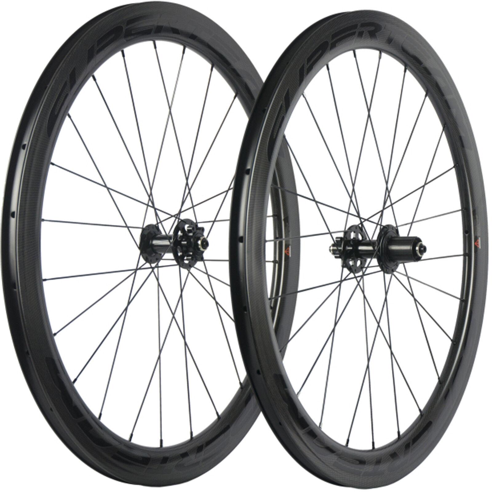 SUPERTEAM Road Bike Disc Brake Carbon Wheelset 6 Bolt 50mmClincher Carbon Wheels
