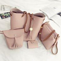 4pcs Women PU Leather Handbag Shoulder Bag Tote Purse Messenger Satchel Clutch