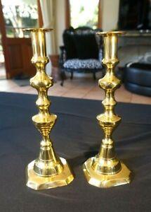 Beautiful-Antique-Victorian-Brass-Candlesticks-Near-Matching