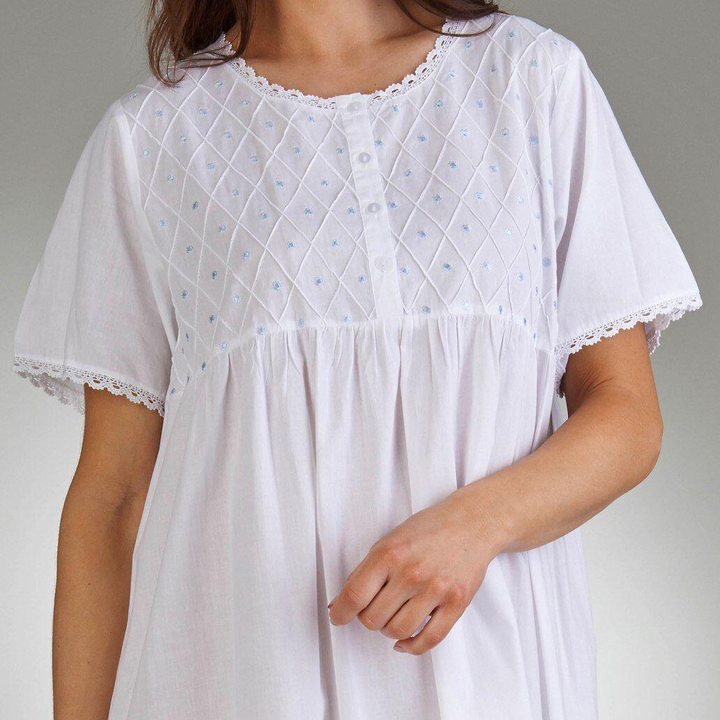 Slenderella Nightdress 100/% Jersey Cotton 3//4 short Sleeve Premium Nightie Blue