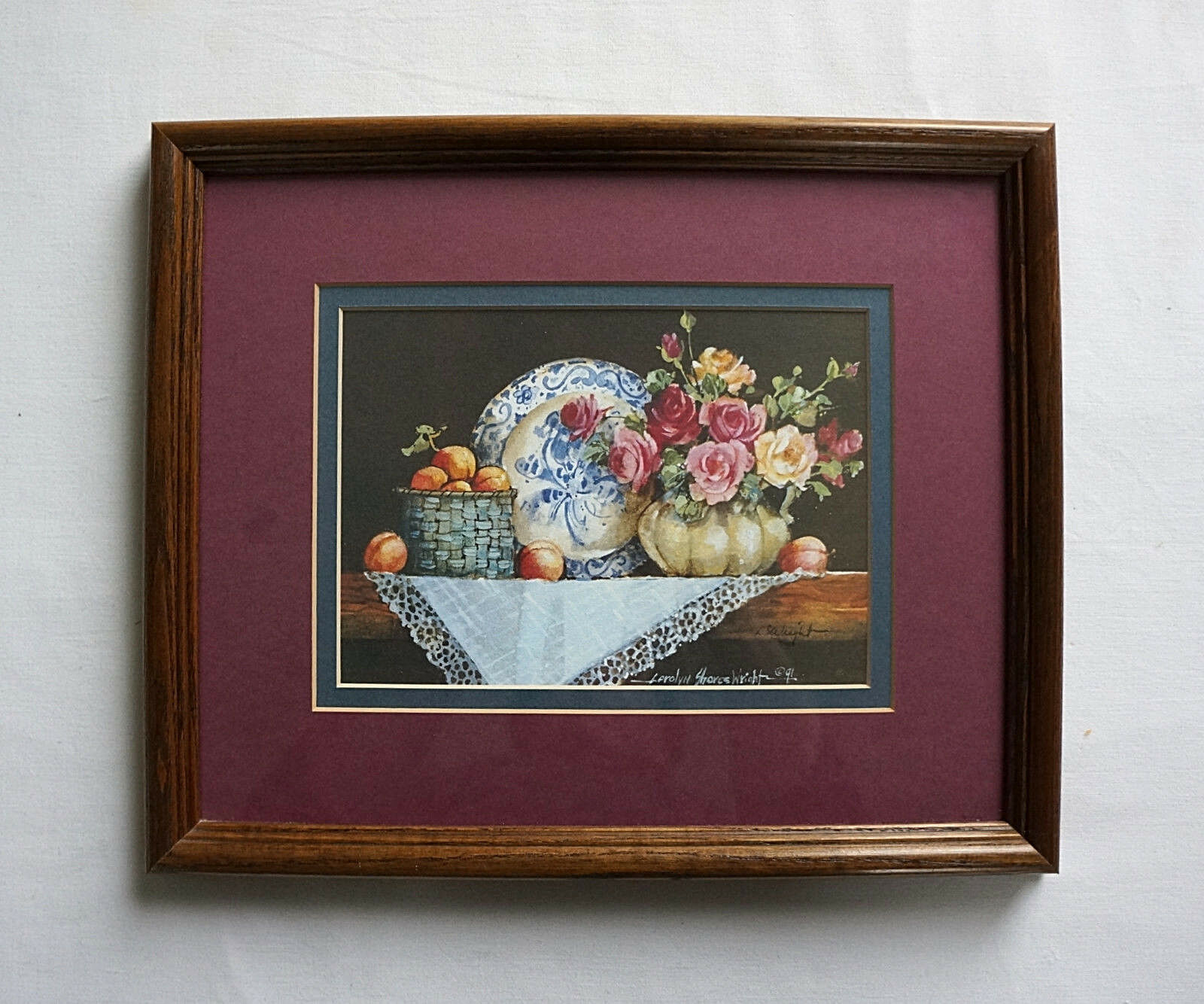 Carolyn Shores Wright Framed Print Flowers and Collectibles Still Life Signed