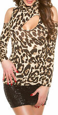 SeXy MiSS open Shoulder Dekollete Look Rolli Shirt 34/36/38 leopard TOP Langarm