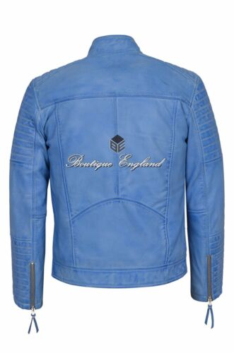 Leather Jacket Quilted Crust Blue Men's qnat44