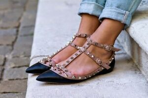 känt märke olika stilar lägsta rabatt NEW Valentino Garavani Rockstud Cage Ballerina Flats Black & Pink ...