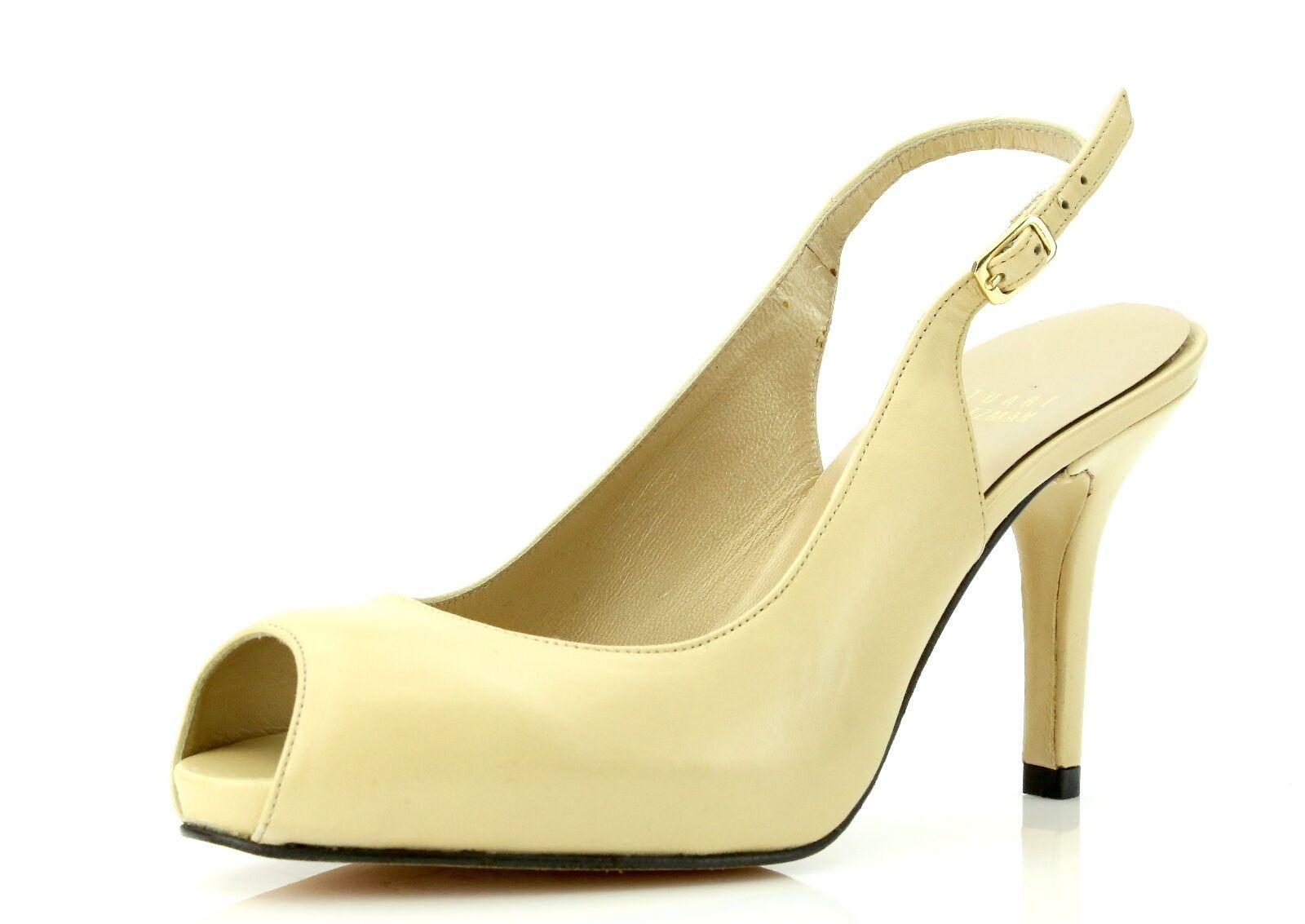 Stuart Weitzman LITELY Beige Leather Peep Toe Pumps 7263 Size 6.5 M NEW
