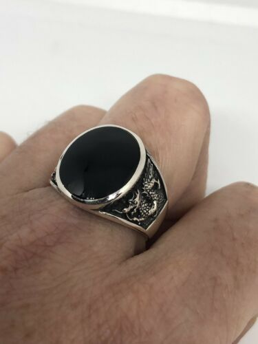 Vintage 925 Sterling Silver Real Black Onyx Dragon Size 9 Ring