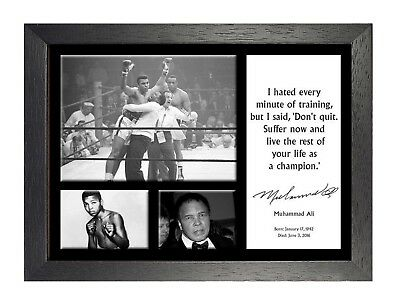 Laminated Muhammad Ali Gym Champions Quote Sign Poster 12x18 inch