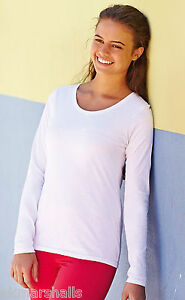 Fruit-of-the-Loom-Ladies-Fitted-Value-Long-Sleeve-T-Shirt-Black-or-White-SZ-8-18