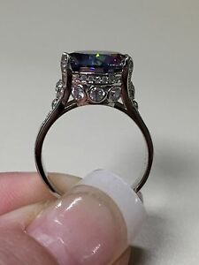 Gorgeous-925-Sterling-Silver-10-5-Carat-Rainbow-Topaz-Ring-size-8