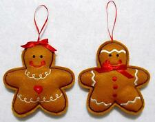 """HAND~CRAFTED 4 1/2"""" EMBROIDERED FELT GINGERBREAD BOY & GIRL CHRISTMAS ORNAMENTS"""