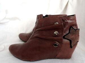 Details zu Ankle Boots Killah Leder gr 38 Wedges Stiefeletten Echtleder  keilabsatz top