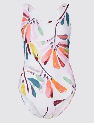 New M/&S Secret Slimming Floral White Mix Round Neck Swimsuit Sz UK 10 /& 14