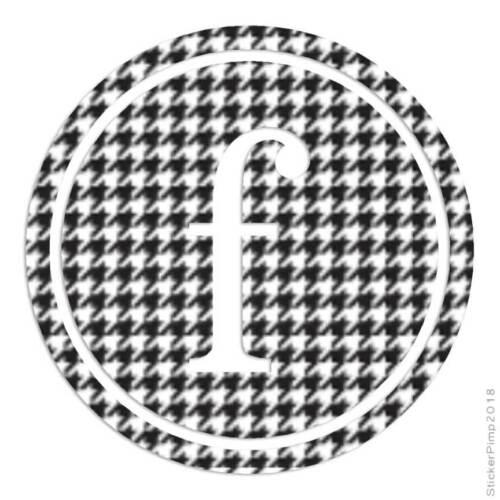 Size #3268 Typewriter Font F Initial Decal Sticker Choose Pattern