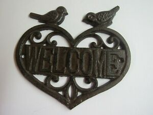 New-Cast-Iron-Heart-Shaped-Welcome-Sign-With-Birds-UX4279