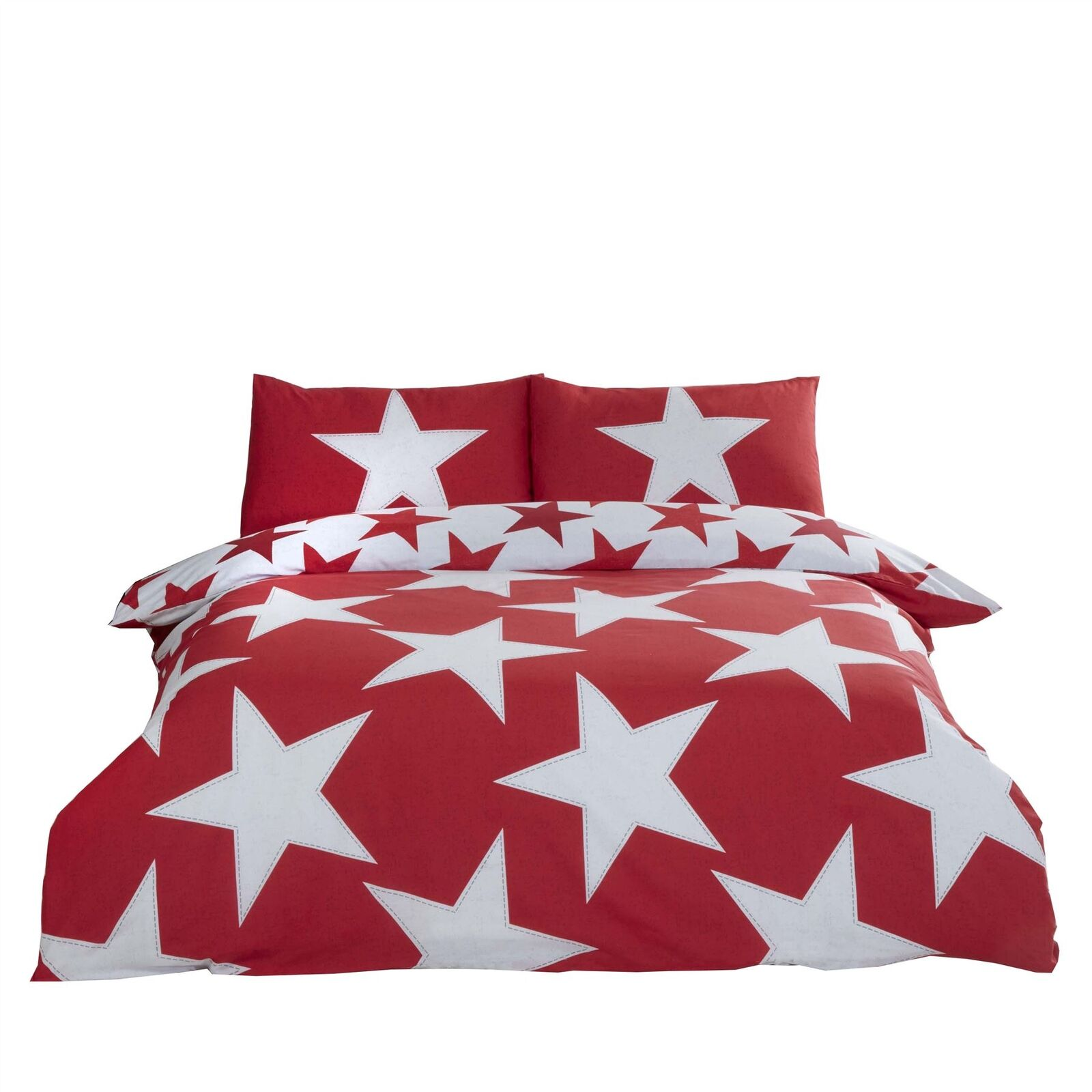 DISTRESSED STARS RED COTTON BLEND REVERSIBLE KING SIZE 4 PIECE BEDDING SET