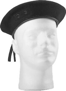 Image is loading Black-Beret-Army-Military-Wool-Hat-With-Eyelets 340260ecc