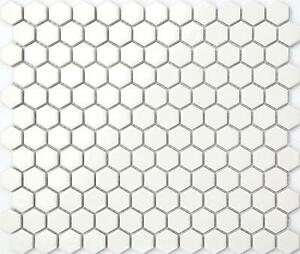 Ceramic Mosaic Wall Floor Tiles White Hexagonal Gloss Bathroom - Carrelage hexagonal blanc