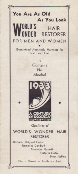#MISC-0014 - 1933 1934 CHICAGO WORLDS FAIR BROCHURE - HAIR RESTORER