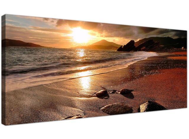 Brown Extra large Canvas Picture of Sunset Beach Landscape  1131