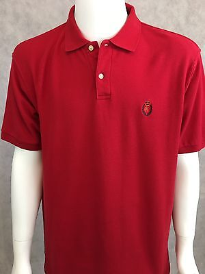 Chaps Ralph Lauren Men's Red Short Sleeve Polo Shirt 2 Button Placket SZ XL