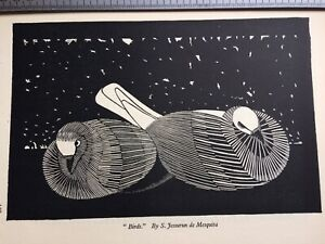 Striking 1930s Art Deco Woodcut print Birds by Jessurun Mesquita