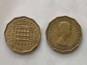 1953 To 1967 Queen Elizabeth II en laiton trois pence pièce – choix de l'année/date