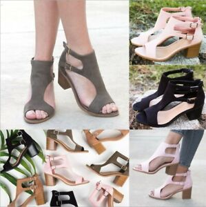 Womens-Mid-Block-Heel-Roma-Sandals-Ladies-Peep-Toe-Buckle-Ankle-Strap-Shoes-Size