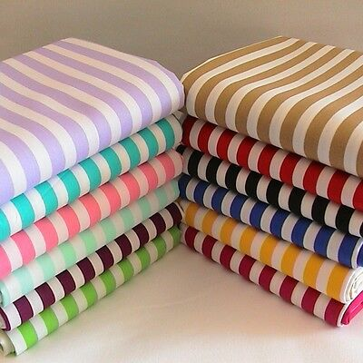8mm Candy Striped Fabric - Fat Quarter, Half Metre or Metre 100% Cotton.