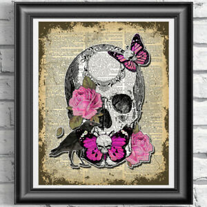 Original-ART-Print-DICTIONARY-ANTIQUE-BOOK-PAGE-Pink-Butterflies-Skull-and-Roses