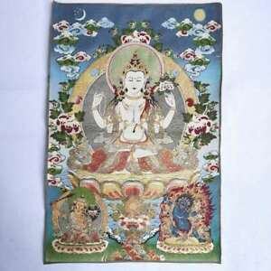 36-034-Tibet-Tibetan-Cloth-Silk-Buddhism-4-Arm-Guanyin-Kwan-yin-Tangka-Thangka-14