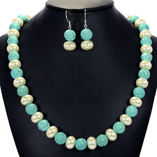 Vintage Turquoise & White Faux Pearl Necklace Sterling Silver Earrings Set UK
