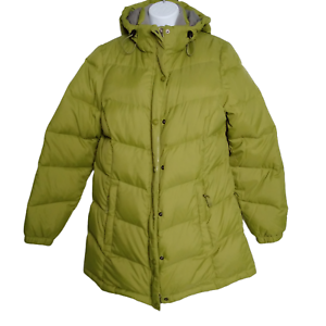 LL Bean Women's Green Hooded Quilted Down Puffer Jacket Coat Size Medium
