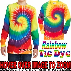 11e8d2ad90d44 Details about Youth Tie Dye LONG SLEEVE T-Shirt RAINBOW Boys Girls Kids Tee  XS, S, M, L, XL
