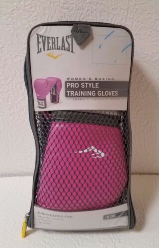 EVERLAST WOMEN'S BOXING PRO STYLE PINK 8 OZ. LEVEL 1 TRAINING GLOVES NIB