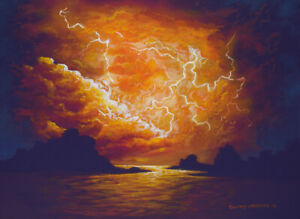 Original Acrylic Painting Lightning Storm 12x16 Seascape by Timothy Stanford