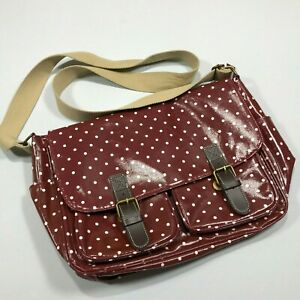 National-Trust-woman-messenger-Bag-maroon-with-white-dots