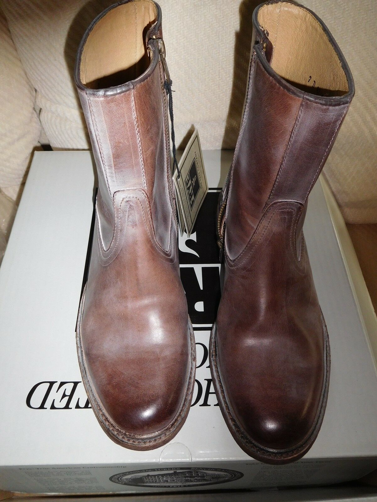 NWT Men's Frye James Inside Zip Brown Leather Boot- 7M Style 87105