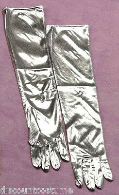"16"" SILVER FLAPPER GLOVES HALLOWEEN COSTUME ACCESSORY"