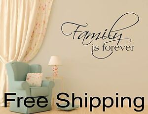 FAMILY-IS-FOREVER-wall-vinyl-sticker-inspirational-art-romantic-quote-12-COLORS