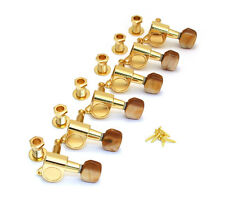 Gold w/Brown Pearloid Button Sealed 6 Inline Mini Guitar Tuners EGT-IL-G