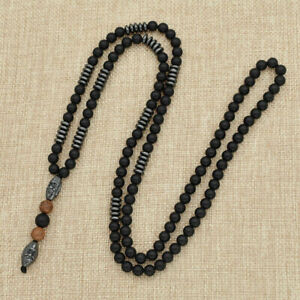 Mens-Hematite-Carving-Bead-Necklace-Long-Chain-Rope-Pendant-Black-Jewelry-USA