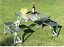 Aluminum-Folding-Camping-Picnic-Table-With-4-Seats-Portable-Set-Outdoor-Garden miniature 1