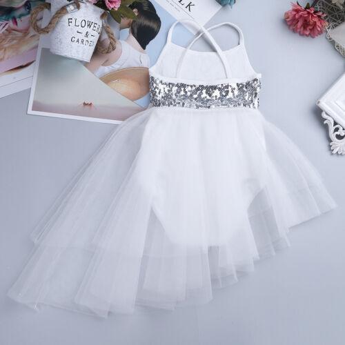 US Girls Ballet Lyrical Dance Dress Ivory Sequins Leotard Latin Ballroom Costume