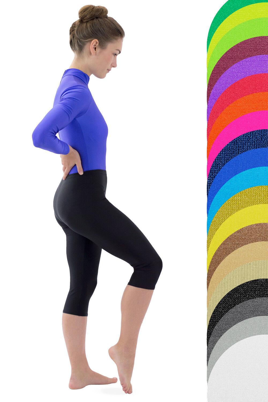 Capri Caprihose kurze Leggings elastisch glänzend Damen stretch shiny glänzend